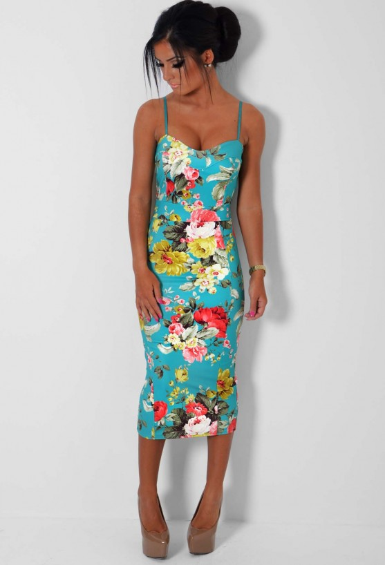 Luxana Floral Print Bodycon Midi Dress | Pink Boutique