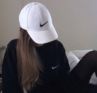 hat nike baseball cap cap fashion style black and white