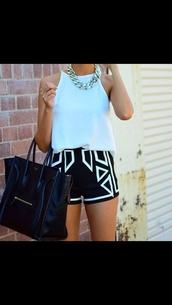 shorts,black,white,monochrome,jewels,tank top,bag,shirt