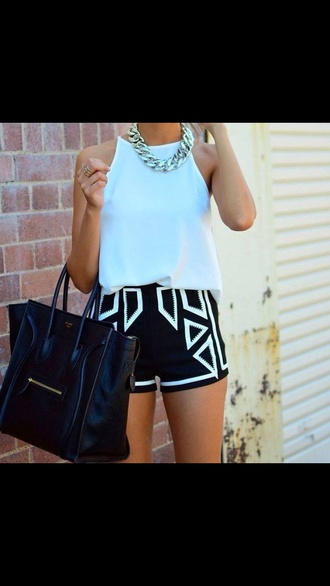 shorts black white monochrome jewels tank top bag shirt