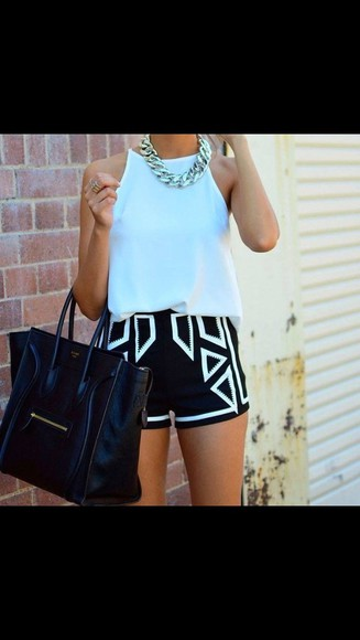 tank top shorts jewels black white monochrome bag shirt
