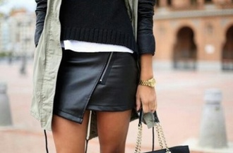 skirt black milk leather skirt zipper
