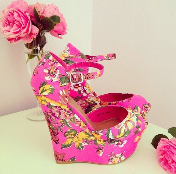 shoes heels pink flowers pretty flowers lovely shoes pretty shoes