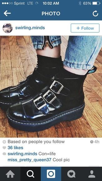 platform shoes zipper black leather Belt grunge shoes