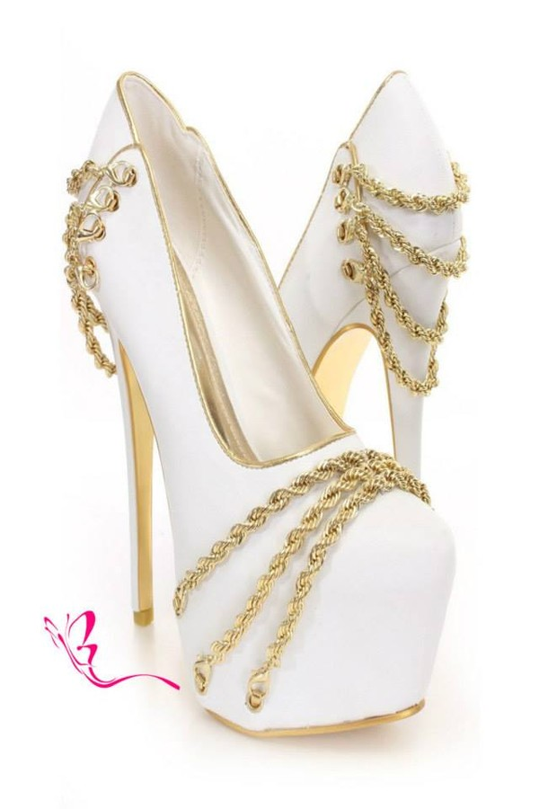 White Gold Chain Decor Platform Pumps @ Amiclubwear Heel Shoes ...