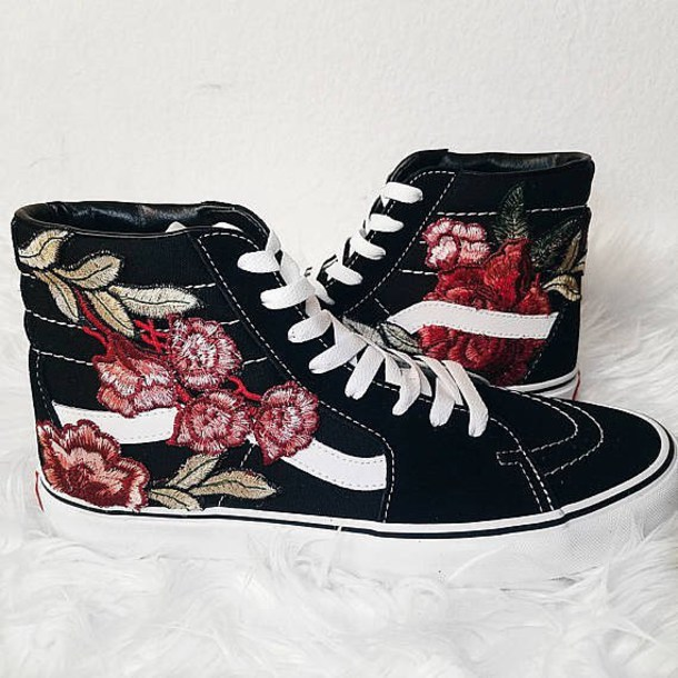 shoes roses rose patch patch vans patchwork
