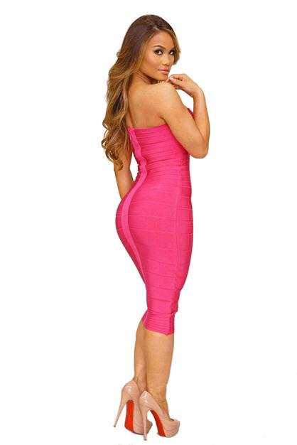 Bandeau Midi Bandage Dress Pink