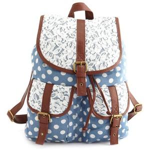 Lace trim chambray polka dot backpack