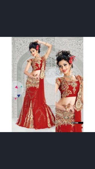 dress bollywood red dress embroidered