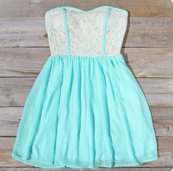 dress women's cute turquoise mint dress mint seafoam lace strapless trendy juniors teen mini dress formal casual summer