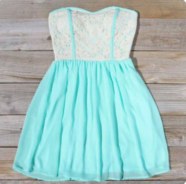 Dress: mint dress, turquoise, mint, seafoam, lace, strapless, cute ...
