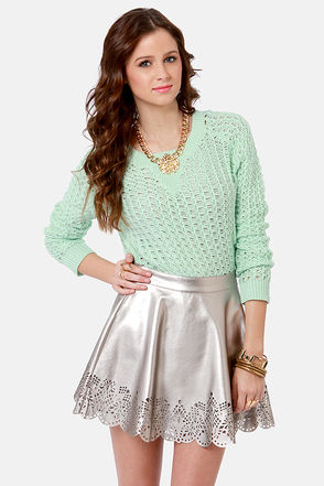 Cute Laser-Cut Skirt - Silver Skirt - Mini Skirt - $39.00