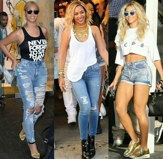 jeans beyonce lemonade summer outfits denim shorts tank top air max heels jewelry ridin thru texas bad bitches link up jay z slay bey casual outifits smile $$$$