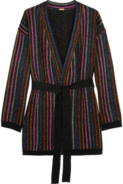 Dodo Bar Or - Striped Metallic Merino Wool Cardigan - Bright blue