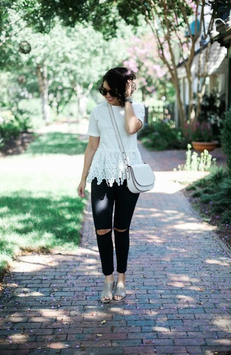 life & messy hair blogger top jeans bag sunglasses jewels romper shoes black ripped jeans black and white h&m coach