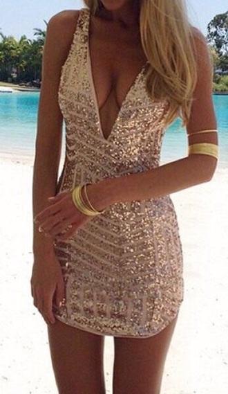 dress glitter dress sequin dress gold dress rose gold dress bodycon dress short dress sparkly dress vegas dress