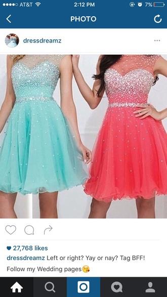 dress glitter short prom pink dress mint dress pink mint short dress prom dress prom gown short prom dress