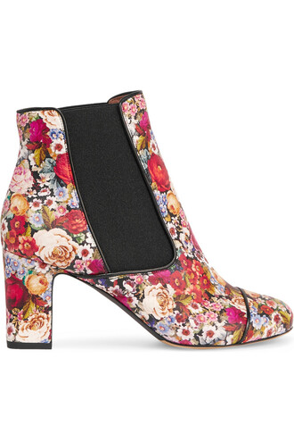 boots ankle boots floral print red shoes