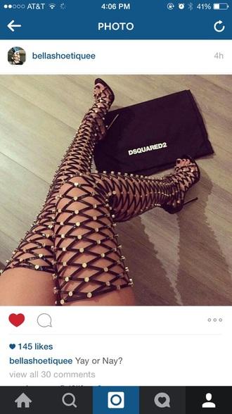 shoes black heels black high heels high heel sandals open toes knee high gladiator sandals