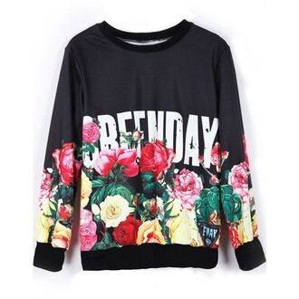 sweater green day outfit grunge floral music band sweater green day