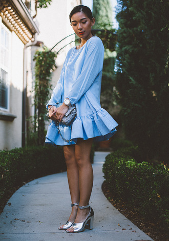 honey n silk blogger dress ruffle blue dress light blue