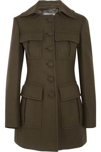 coat wool green army green