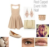 dress,niall horan,accessories,light look,red carpet outfit,im niall girlfriend ha,one direction,neutral dress,nude dress,date dress,summer dress,skater dress