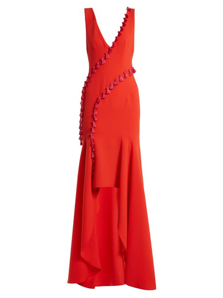 Galvan gown tassel embellished red dress