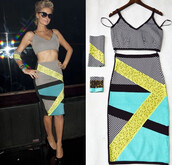 two piece dress set,pencil skirt,black heels,paris hilton,celebrity style,celebstyle for less,patterned dress,sexy,sexy party dresses,chic,classy,classy and fabulous,evening dress,special occasion dress,event,club dress,party dress,cocktail dress,formal cocktail dresses,bandage dress,bandage set,colorful,girly