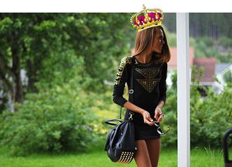 dress black dress black gold details details long sleeves classy elegant kristine ullebø pretty girl