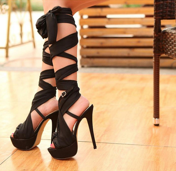 high heels shoes black sexy sandals knee high