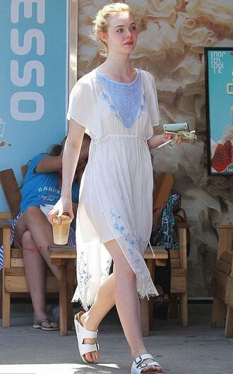 dress flats boho dress elle fanning sandals flip-flops shoes