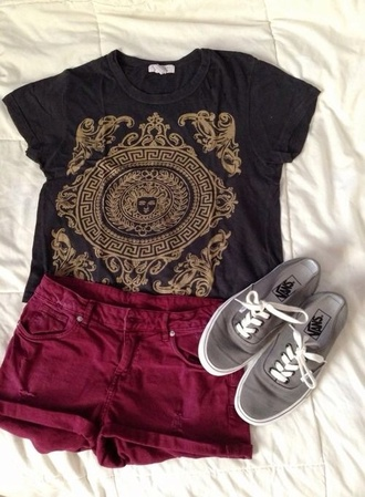 shirt black black t-shirt black and gold top black and gold tumblr gold girly cute fashion cute outfits outfit pattern skirt t-shirt shorts shoes maroon shorts burgundy cranberry red rebel tribal pattern aztec shirt hipster cultural pants dark gray with gold indian like pattern black t shirt