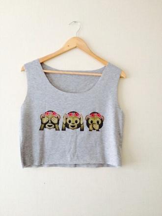top singe smiley gris jungle court debardeur monkey crop tops tank top blouse shirt emoji print grey