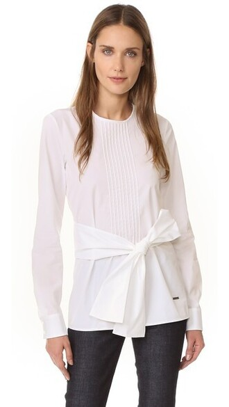 top pleated white