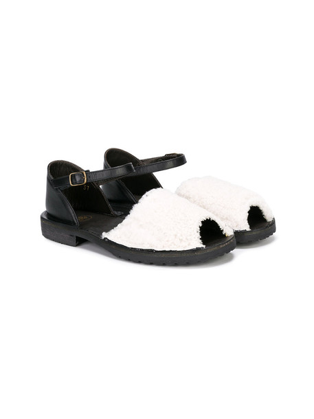 PePe fur sandals leather white shoes