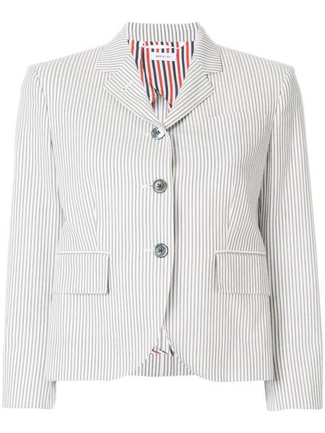 blazer short women cotton silk grey jacket