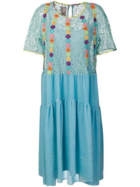 Antonio Marras dress embroidered women floral blue silk
