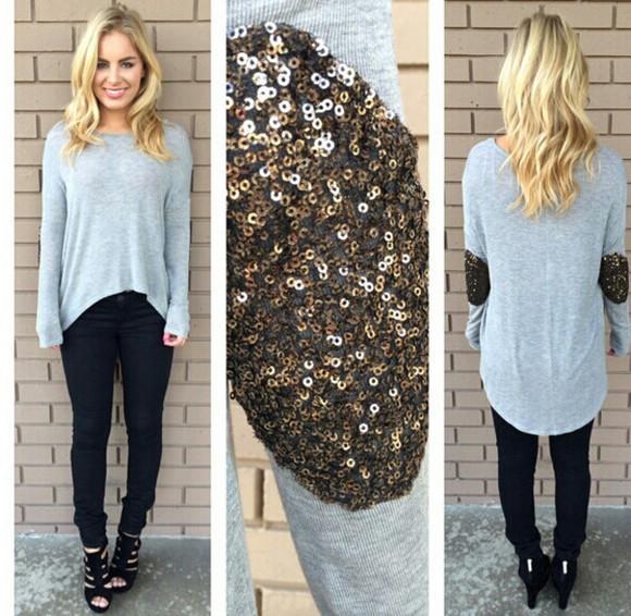 sequin sweater longsleeve shirt gray t-shirts