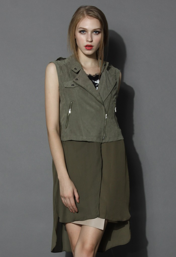 Zipped Sleeveless Jacket with Chiffon Hem - Retro, Indie and Unique Fashion