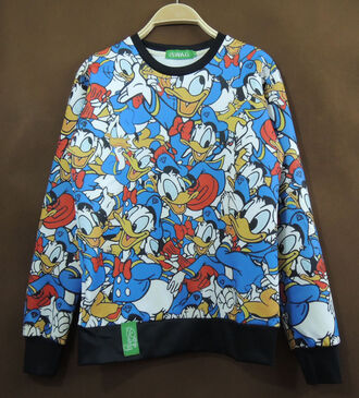 sweater donald duck disney blue red black white repeat unisex