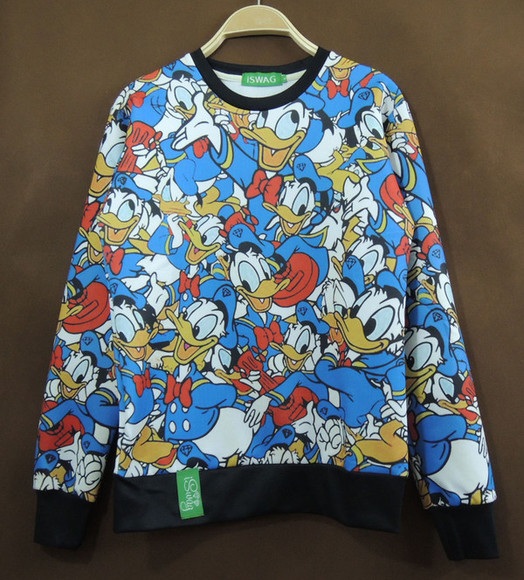 sweater disney black white donald duck blue red repeat unisex