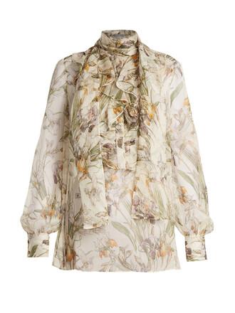 blouse chiffon blouse chiffon sheer print silk white top