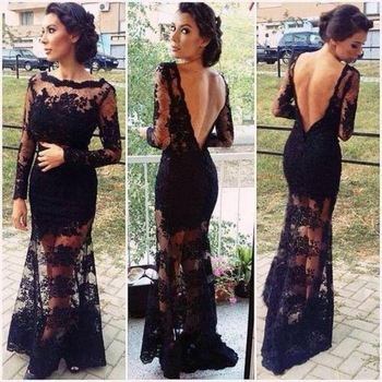 2014 New Arrival Mermaid Scoop Long Sleeves Floor Length Lace Black Appliques Open Back Evening Prom Dresses Prom Gown-in Prom Dresses from Apparel & Accessories on Aliexpress.com