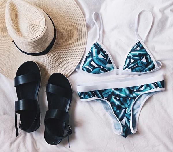 56fb482e35 swimwear zaful bikini fashion trendy summer tropical tropical swimwear  summer outfits palm tree print set.