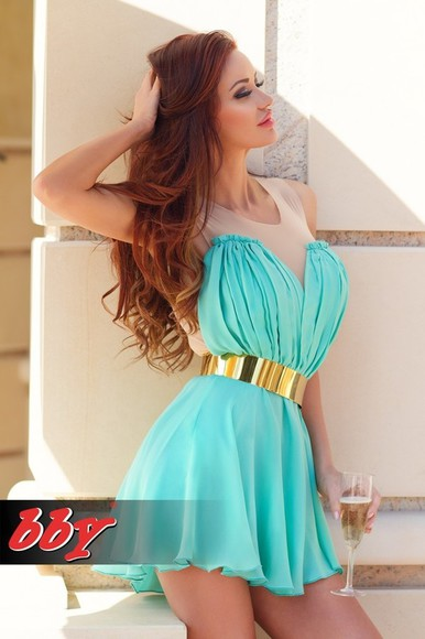 dress summer dress mint green dress prom dress gold gold jewelry belt