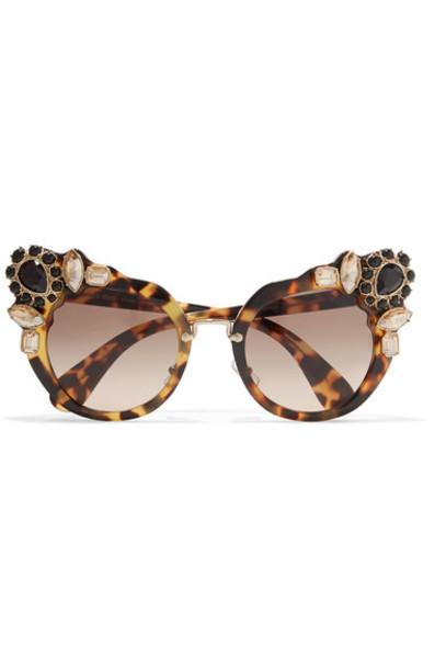 0ab9db390ad0 ... Brown Source · Miu Miu Crystal embellished Cat eye Acetate Sunglasses