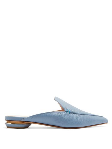 Nicholas Kirkwood backless loafers leather light blue light blue shoes