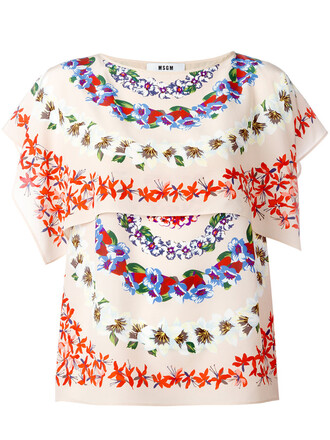 blouse women floral nude print silk top