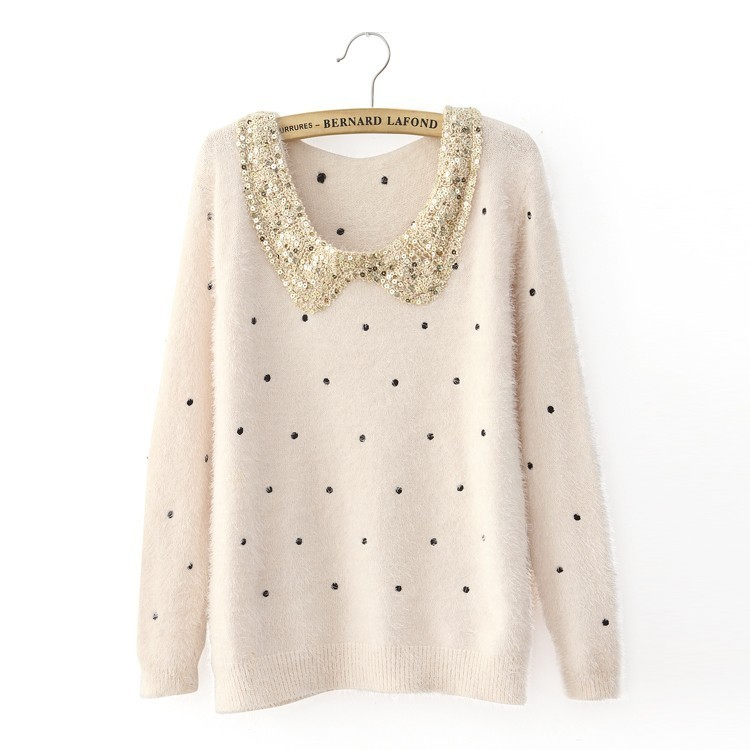 2013 Small fresh paillette collar mohair dot polka dot explaines long sleeve sweater-inPullovers from Apparel & Accessories on Aliexpress.com